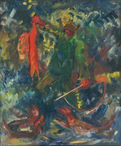 Po?ovník so psami II   Arnold Peter Weisz-Kubín?an   Oil Painting