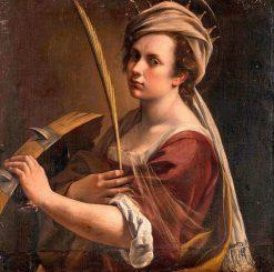 Self-Portrait as Saint Catherine of Alexandria   Artemisia Gentileschi   Oil Painting