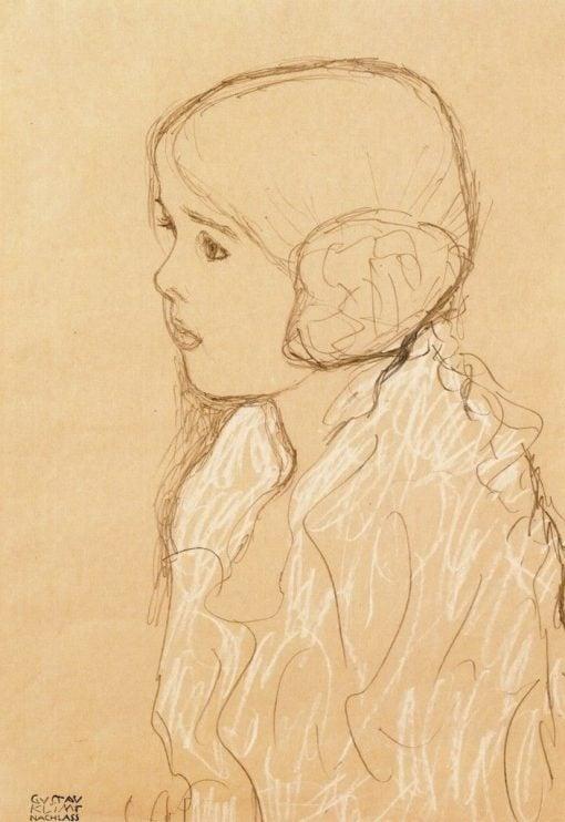 Bust of a Girl in Profile | Gustav Klimt | Oil Painting
