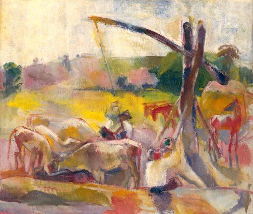 Cows Feeding | Vilmos Aba-Novák | Oil Painting