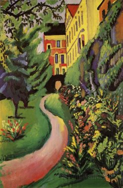 Our Garden with Blooming Borders | August Macke | Oil Painting