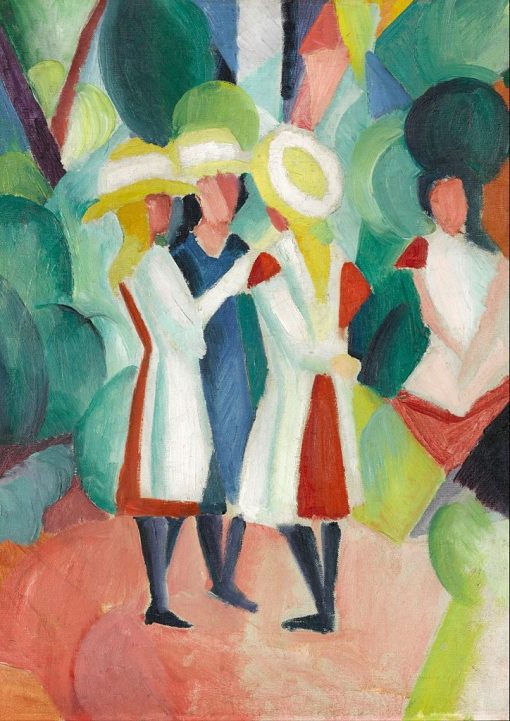 Three Girls in Yellow Straw Hats I | August Macke | Oil Painting