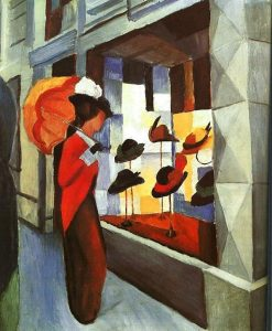 Woman with Umbrella in front of a Hat Shop | August Macke | Oil Painting
