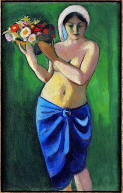 Woman Carrying a Flower Bowl | August Macke | Oil Painting