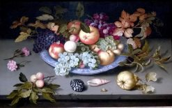 Still Life of Fruit on a Kraak Porcelain Dish | Balthasar van der Ast | Oil Painting