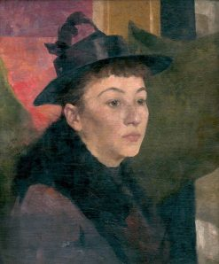 Portrait of a Woman in a Black Hat   kos Aranuossy   Oil Painting