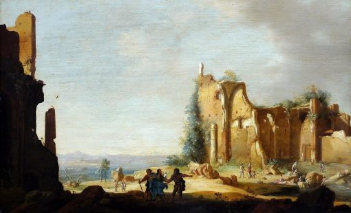 Landscape with Classical Ruins and Christ with his Disciples on the Road to Emmaus | Bartholomeus Breenbergh | Oil Painting