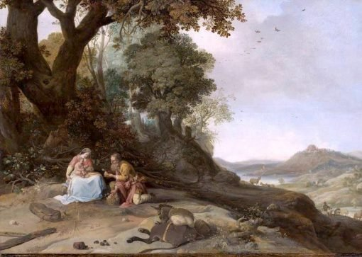Landscape with the Rest on the Flight | Bartholomeus Breenbergh | Oil Painting