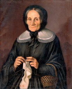 Kubíniova with her knitting   Peter Michal Bohú?   Oil Painting