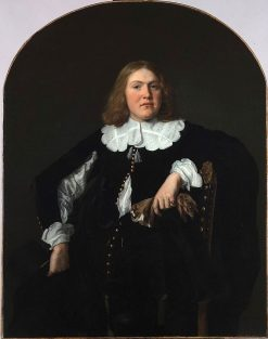 Portrait of a Seated Young Man Holding Gloves in his Left Hand | Bartholomeus van der Helst | Oil Painting