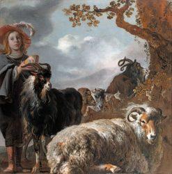 Portrait of a Young Shepherd with Sheep and Goats | Bartholomeus van der Helst | Oil Painting