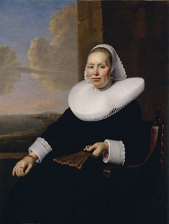 Portrait of a Seated Woman with a Fan | Bartholomeus van der Helst | Oil Painting