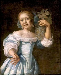 Portrait of a Girl with a Bunch of Grapes   Bartholomeus van der Helst   Oil Painting