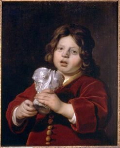 Portrait of a Boy holding a Silver Drinking Cup   Bartholomeus van der Helst   Oil Painting