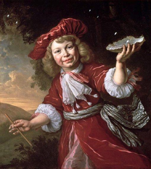 Homo Bulla: A Boy Blowing Bubbles in a Landscape   Bartholomeus van der Helst   Oil Painting