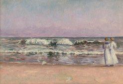 Dve diev?atá v bielych šatách na pláži | Dezider Czölder | Oil Painting