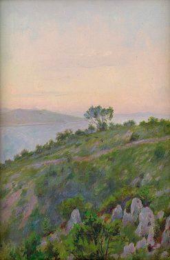 Skalný breh so stromami   Dezider Czölder   Oil Painting