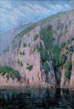 Meste?ko na brale nad temným jazerom | Dezider Czölder | Oil Painting