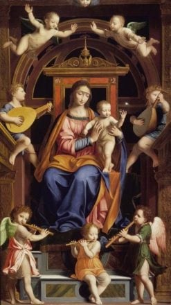 Madonna and Child Enthroned with Angels | Bernardino Luini | Oil Painting