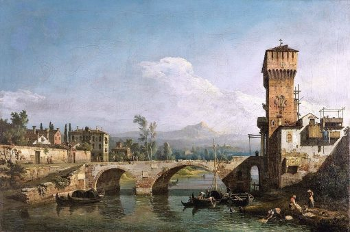 Capriccio with a River and Bridge | Bernardo Bellotto | Oil Painting