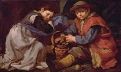A Girl and a Boy Warm Themselves at a Brazier | Bernhard Keil | Oil Painting