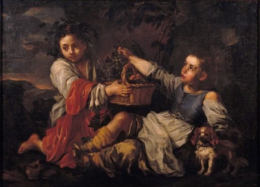 Children with Grapes | Bernhard Keil | Oil Painting