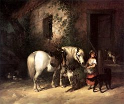 Feeding the Gamekeeper's Pony | William Shayer Snr | Oil Painting