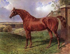 Mr. C. Wilson's Chestnut Stallion 'Comus' Standing in a Landscape | John Frederick Herring