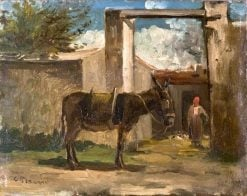 Donkey in Front of a Farm