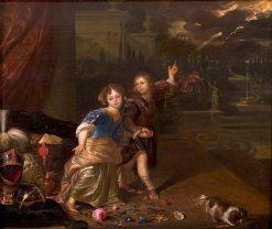 Allegorical Portrait of Two Children | Carel de Moor | Oil Painting