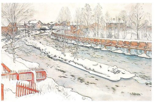 The Timber Chute. Winterscene. | Carl Larsson | Oil Painting