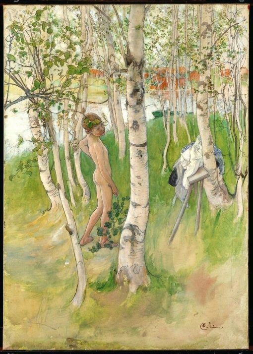 Ulf. Nude Boy among Birches   Carl Larsson   Oil Painting