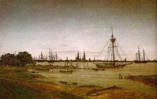 Harbor by Moonlight | Caspar David Friedrich | Oil Painting