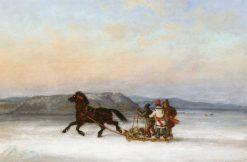 Three Habitants Sledding on the St. Lawrence at Quebec | Cornelius Krieghoff | Oil Painting