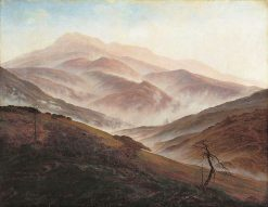 Giant Mountains Landscape with Rising Fog | Caspar David Friedrich | Oil Painting