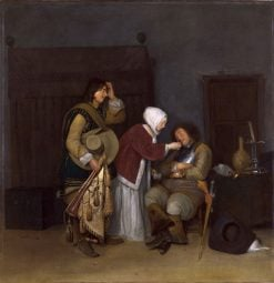 Lady Tickling a Sleeping Soldier | Gerard ter Borch | Oil Painting