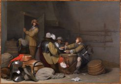 Guardroom Interior with Soldiers Smoking and Playing Cards | Gerard ter Borch | Oil Painting