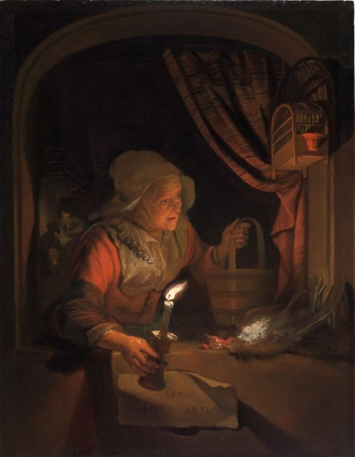 Old Woman at a Window with a Candle | Gerrit Dou | Oil Painting