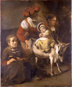 Woman with Three Children and a Goat   Nicolaes Maes   Oil Painting