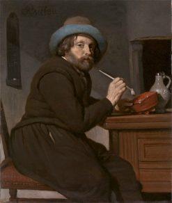 Smoker Seated at a Table   Gabriël Metsu   Oil Painting