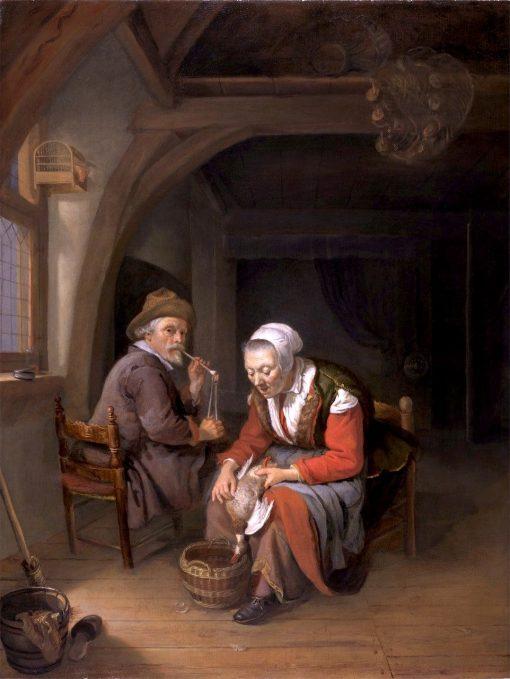 Elderly Couple in an Interior | Frans van Mieris the Elder | Oil Painting