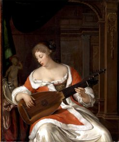 Lady Playing a Lute in an Interior | Eglon Hendrick van der Neer | Oil Painting