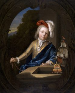 Portrait of a Boy with a Miniature Three-Master | Adriaen van der Werff | Oil Painting