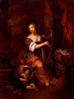 Madam de Montespan Playing the Harp | Caspar Netscher | Oil Painting
