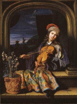 A Violin Player | Caspar Netscher | Oil Painting