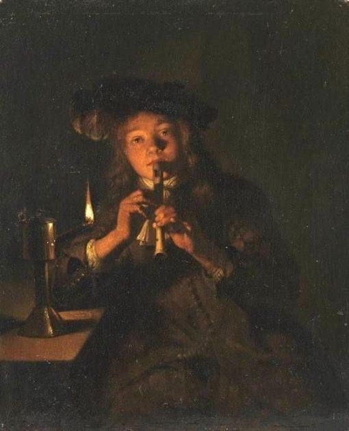 Boy Playing a Flute in the Light of an Oil Lamp | Caspar Netscher | Oil Painting