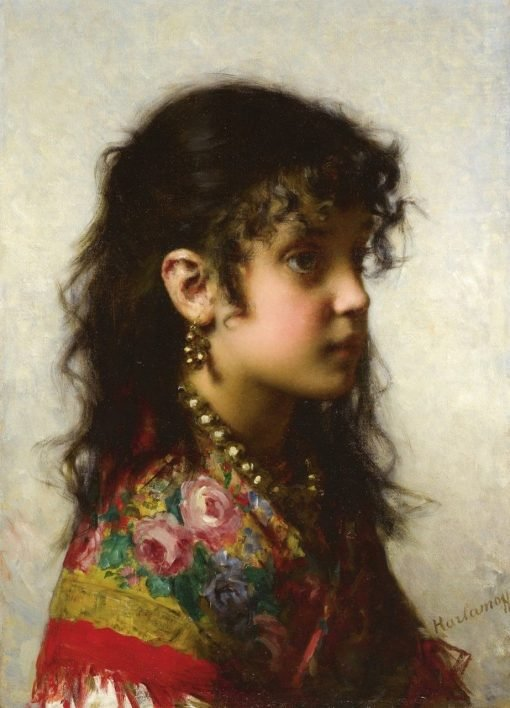 Girl with Brass Necklace | Alexei Harlamoff | Oil Painting