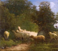 Sheep Grazing along a Hedgerow | Jean-François Millet | Oil Painting