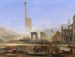 View of the Leuvehaven Wz after the Fire at the Steam Sugar Refinery of P.H. Tromp | Charles Rochussen | Oil Painting