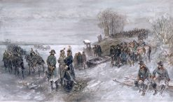 French Troops Pull on a Frozen River | Charles Rochussen | Oil Painting